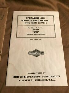 Vintage 1950 Briggs Stratton Model wmb Washing Machine Engine Manual