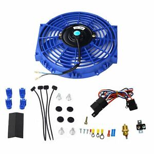 10 Blue Electric Radiator Cooling Fan W Thermostat Relay Mounting Kits