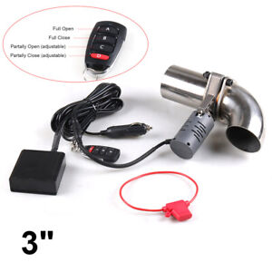 3 76mm Electric Exhaust Valve Control Downpipe Cutout Kit Adjustable Remote