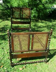 Antique Stunning Turned Spiral Oak Stained Dark Wood Cane Twin Single Bed