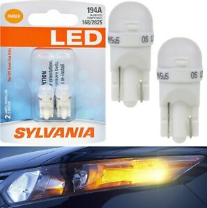 Sylvania Led Light 194 T10 Amber Orange Two Bulbs Front Side Marker Lamp Oe Fit