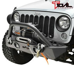 Tidal Fit For 07 18 Jeep Wrangler Jk Off road Stubby Front Bumper W led Lights