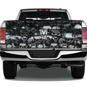 Skulls Distressed American Flag Truck Vinyl Decal Wrap Graphic Pickup Tailgate