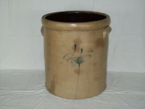 Primitive 4 Gallon Bee Sting Stoneware Crock Early Antique Red Wing Pottery