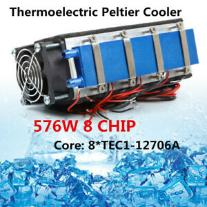 12v 576w 8 Chip Thermoelectric Peltier Cooler Diy Air Cooling Device water Tank
