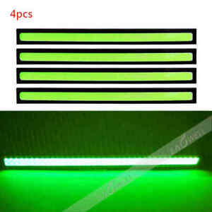 Us Green 4x 12v Cob Led Car Fog Drl Daytime Running Light Bar Strip Waterproof