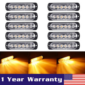 10x Amber 6 Led Car Truck Emergency Beacon Warning Hazard Flash Strobe Light Bar