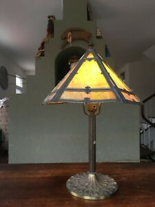 Antique Miller Brass 6 Pc Slag Glass Shade Table Lamp In Green W Overlay 971