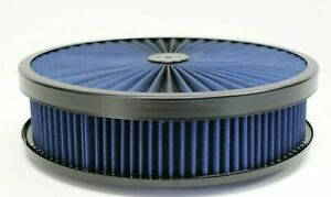 Air Cleaner Blue Black Washable Top Filter 14x3 Edelbrock Holley Chevy 350