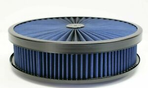 Ford Air Cleaner Blue Black Washable Top Filter 14x3 Edelbrock Holley New