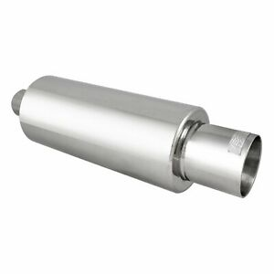Dc Sports Round Stainless Muffler Slant Cut Tip Inlet 2 5in Outlet 4in Ex5015