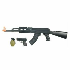 CYMA AK47B 6mm Airsoft Electric AEG Rifle Full Auto with Pistol and bbs Black $64.95