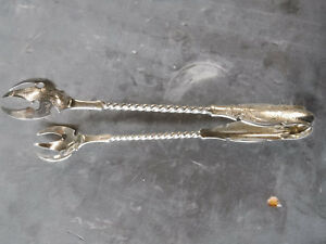 Rare Gorham 1850s Old Mark Coin Silver Poultry Tongs No Mono Or Removals