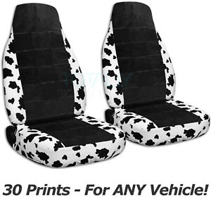 Animal Print Black Car Seat Covers For Any Car truck van suv jeep Front 30cc
