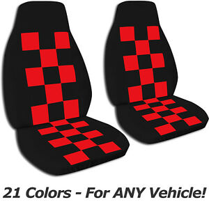 Checkered Car Seat Covers For Any Car truck van suv jeep Front Set 21 Colors