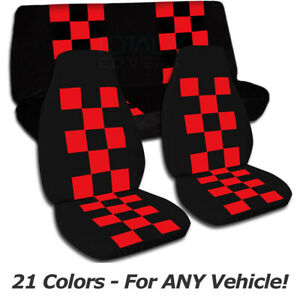 Checkered Car Seat Covers For Any Car truck van suv jeep Full Set Front