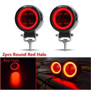 2x 3inch Round Led Work Light Bar Spot Pods Driving Fog Red Halo Offroad Atv 4wd