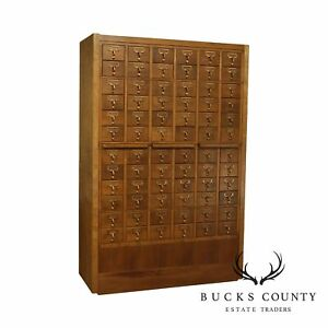 1960 S Vintage Maple 72 Drawer Library Card Catalog File Cabinet