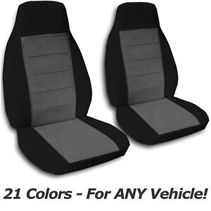 Two Tone Car Seat Covers For Any Car Truck Van Suv Jeep Front Set 21 Colors