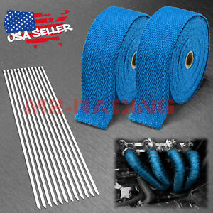 2 Rollx2 50ft Blue Exhaust Thermal Wrap Manifold Header Isolation Heat Tape