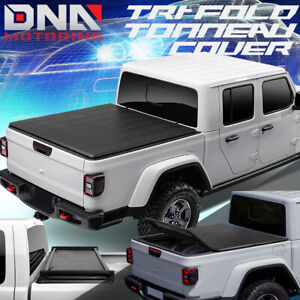 For 2020 Jeep Gladiator Jt Pickup Bed Top Soft Folding Tri Fold Tonneau Cover