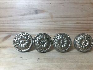 4 Vintage Brass Drawer Pull Knobs French Provincial Flower Rosette Gold