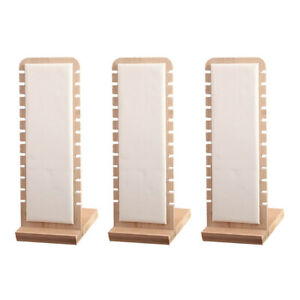 3pc White Necklace Display Stand Retail Desktop Holder Leather Surface