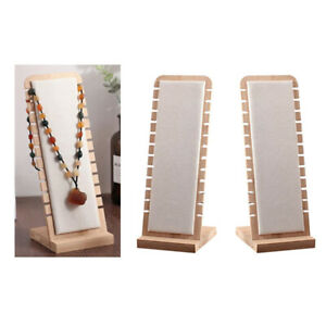 2x White Elegant Necklace Display Stand Jewelry Holder Storage Suede Surface