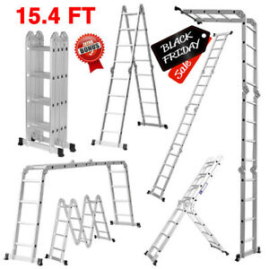 15 4ft Aluminum Ladder Folding Step Scaffold Extendable Heavy Duty Platform Safe