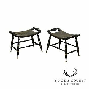 Hitchcock Style Vintage Pair Black Gold Rush Seat Stools Or Benches