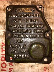 John Deere 1 1 2 Hp E Hit Miss Engine Governor Cover 287866