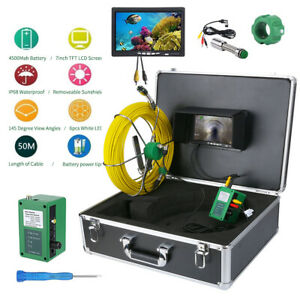 7 Lcd 50m Pipe Inspection 1000 Tvl Video Camera Led Waterproof Drain Pipe Sewer