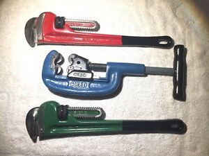 Reed 2 4 Cutter 18 Ridgid Pipe Wrenches 2 Ea