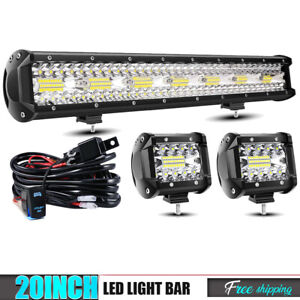 Tri row 20 420w Led Light Bar Combo For Truck Off Road Tahoe Honda Pioneer New