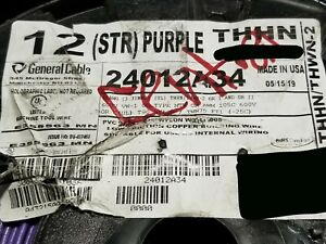 General Cable 12awg 19 Stranded Thhn thwn 2 mtw Building Wire Purple 100ft