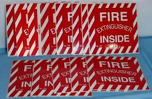 10 Each Fire Extinguisher Inside Stickers 4 X 4 Self Adhesive Vinyl Lot