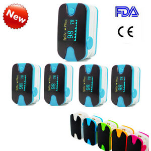 5pcs Fingert Pulse Oximeter Blood Oxygen Spo2 Pr Monitor Oled lanyard Blue A