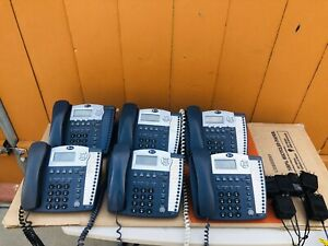 Lot Of 6 Phones Att 974 945 Business Phones 4 Lines Adapters And Cables Works