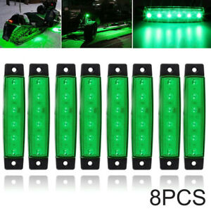 8x 6 Led Fit For Jeep Offroad Atv Truck Bed Under Body Fog Lights Lamp Green