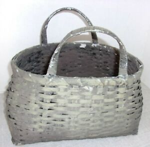 Vintage Aafa Primitive Antique Basket W Handles Old Crusty Paint Orig 11 X 7 X 9