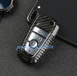 Black Carbon Fiber Remote Key Case Fob Shell Key Cover For Ford Explorer 2018 19
