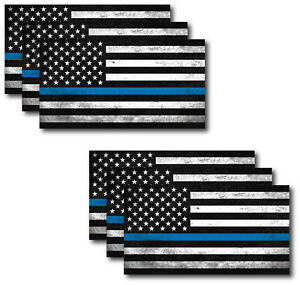 I Support Police Officer Thin Blue Line American Flag Decal Sticker Window Truck