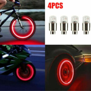 4x Universal Led Car Wheel Tyre Decoration Tire Air Valve Stem Cap Light Lamps