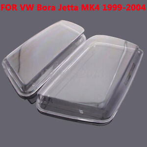 Pair Car Headlight Lense Clear Covers Replacement For Vw Bora Jetta Mk4 1999 04