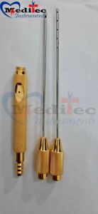 Lipo Suction Cannula Gold Set Of 3 Pieces With Handle And Adopter