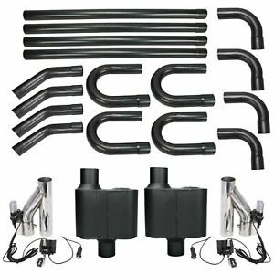 Dual Exhaust System Kit W Exhaust Cutouts Mufflers 3 Inch 3 Diy Universal