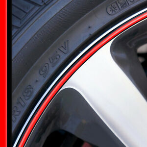 Wheel Bands Red In Black Rim Edge Protector 13 22 Rims For Ford Mustang