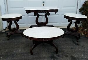Vintage Carved Mahogany Marble Top Parlor Table Set 4pcs