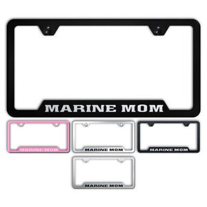 Marine Mom Stainless Steel Cutout Bottom License Plate Frame