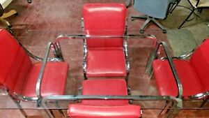 Mid Century Chrome Glass Dining Room Set Red Chrome Matching Chairs